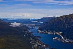 Hafen von Juneau von oben Stockbilder
