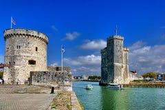 Hafen von La Rochelle Fortified Entrance in Frankreich Stockfotografie