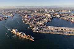 Hafen von Long Beach -Fracht Facilites-Vogelperspektive Stockbilder