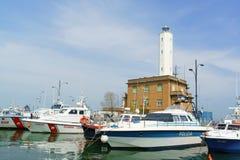 Hafen von Marina di Ravenna, Italien Stockbild