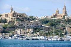 Hafen von Mgarr auf der kleinen Insel von Gozo - Malta stockbilder