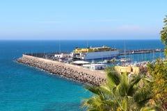 Hafen von Morro Jable auf Fuerteventura-Insel stockfoto