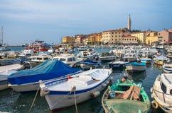 Hafen von Rovinj, Kroatien, adriatisches Meer Stockfotografie