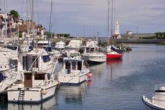 Hafen von Saint-Jean-De Luz und von Cibourre in Frankreich Stockbild