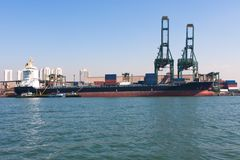 Hafen von Santos Stockbild