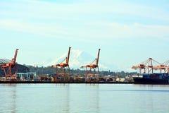 Hafen von Seattle-Seehafen in Seattle, WA auf Septenber 11, 2014 Lizenzfreie Stockfotos
