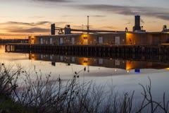 Hafen von West-Sacramento geleuchtet Stockbild