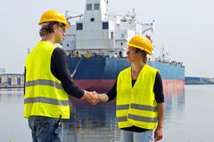 Hafenarbeiterhändedruck Stockfotos