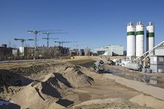 汉堡(德国) - Hafencity的建筑工地 免版税库存图片