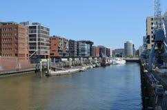 Hafencity Amburgo, un'area nuovissima del dockland a Amburgo Fotografie Stock Libere da Diritti