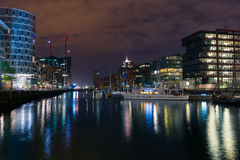 HafenCity buildings at night Stock Photo