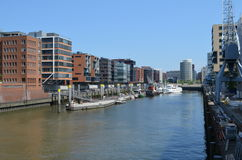 Hafencity Hamburg, ein nagelneuer Docklandbereich in Hamburg Lizenzfreie Stockfotos