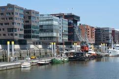 Hafencity Hamburg, ett splitterny hamnkvarterområde i Hamburg Royaltyfri Foto