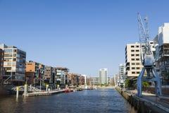 Hafencity Sandtorhafen στο Αμβούργο, Γερμανία Στοκ Εικόνες