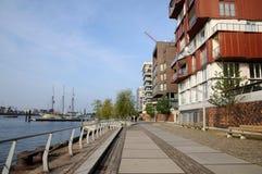 Hafencity in strandboulevard Hamburg Royalty-vrije Stock Foto's