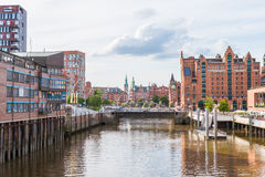 The HafenCity and the world famous Speicherstadt in Hamburg Stock Images