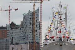 Hafengeburtstag, Elbphilharmonie e cappuccio San Diego Fotografie Stock Libere da Diritti
