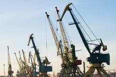 Hafenkräne Stockfotos