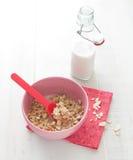Hafermahlzeit mit Mandeln und Milch Stockfoto
