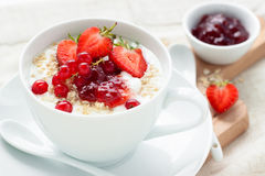 Hafermehl und Früchte Stockbilder