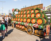 Haflinger Horses pulling beer barrels at Oktoberfest. MUNICH, GERMANY - SEPTEMBER 30: Horses pulling beer barrels on the Oktoberfest in Munich, Germany on stock photos