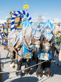 Haflinger Horses pulling beer barrels at Oktoberfest. MUNICH, GERMANY - SEPTEMBER 30: Horses pulling beer barrels on the Oktoberfest in Munich, Germany on royalty free stock images