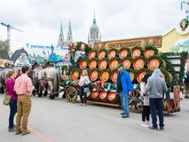 Haflinger Horses pulling beer barrels at Oktoberfest. MUNICH, GERMANY - SEPTEMBER 19: People posing in front of the horses pulling beer barrels on the royalty free stock images