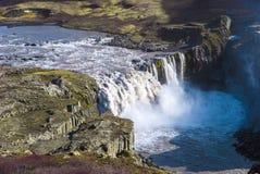 Hafragilsfoss, дно водопада водопада Dettifoss в Исландии Стоковая Фотография RF