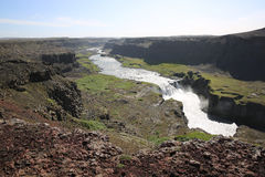 Hafragilsfoss Waterfall in Iceland stock photography