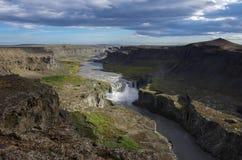 Hafragilsfoss waterfall in Iceland. View сanyon of river Jökulsá á Fjöllum and waterfall Hafragilsfoss  in Iceland Stock Photography