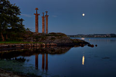 Hafrsfjord Swords in Rock night. Swords in Rock is a commemorative monument located at the Hafrsfjord fjord, Norway Stock Photos