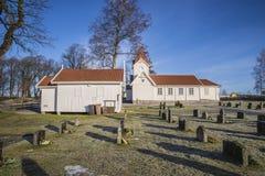 Hafslund-Kirche (die Kapelle u. die Kirche) Lizenzfreies Stockfoto
