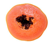 Haft of papaya isolated Stock Image