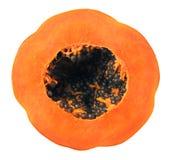 Haft of papaya. Isolated on white background Royalty Free Stock Photo