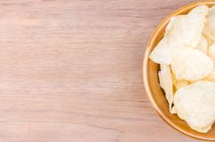 Haft potato chip bowl and catchup Stock Image