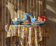 Haft-Seen. Traditional table setting  of Nowruz, the traditional Iranian spring celebration Royalty Free Stock Photography
