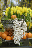 The haft-sin. Is a table  containing seven traditional items starting with the letter S Stock Image
