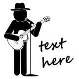 Haften Sie die Straßenmusiker, die Instrumente auf einem weißen Hintergrund spielen lizenzfreie abbildung