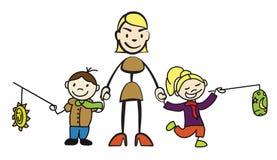 Haften Sie Zahl die Mutter, die zwei Kinder mit Laterne durch die Hand hält lizenzfreie abbildung