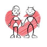 Haften Sie Zahl Frau und Teufel, defektes Herz Lizenzfreies Stockfoto