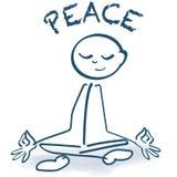 Haften Sie Zahl Sitzen, Friedens- und Yogasitz im Schneidersitz lizenzfreie abbildung
