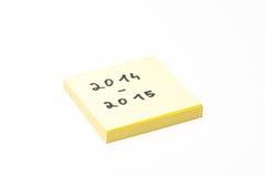 Haftnotiz 2014-2015 Stockbild