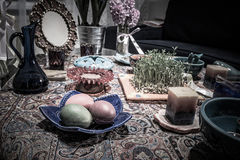 Haftsin!. Haft Seen traditional table of Nowruz. A `Haft Seen` setting in Tehran, Iran. Haft-Seen also spelled as Haft Sin Persian: هفت‌سین‎‎, the Stock Images