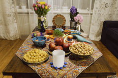Haftsin!. Haft Seen traditional table of Nowruz. A `Haft Seen` setting in Tehran, Iran. Haft-Seen also spelled as Haft Sin Persian: هفت‌سین‎‎, the Stock Photo