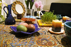 Haftsin!. Haft Seen traditional table of Nowruz. A `Haft Seen` setting in Tehran, Iran. Haft-Seen also spelled as Haft Sin Persian: هفت‌سین‎‎, the Royalty Free Stock Photo