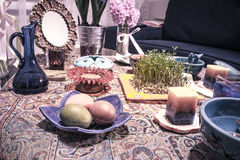 Haftsin!. Haft Seen traditional table of Nowruz. A `Haft Seen` setting in Tehran, Iran. Haft-Seen also spelled as Haft Sin Persian: هفت‌سین‎‎, the Stock Image