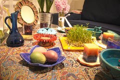 Haftsin!. Haft Seen traditional table of Nowruz. A `Haft Seen` setting in Tehran, Iran. Haft-Seen also spelled as Haft Sin Persian: هفت‌سین‎‎, the Stock Photography