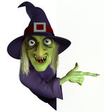 Hag. 3d cartoon witch with hat Stock Image