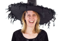 Hag with evil laughing. Hag in Middle Ages with evil laughing Stock Images
