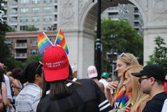 Haga al gay de América una vez más New York City Pride March, NYC, NY, los E.E.U.U. Foto de archivo libre de regalías